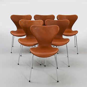 "Arne Jacobsen,, chairs, 6 pcs, ""Sjuan"", Fritz Hansen, Denmark later part of the 20th century."