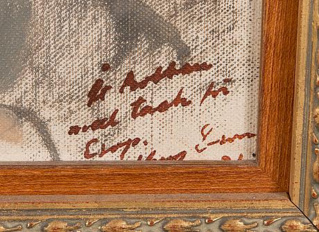 Henry ericsson, olja på pannå, signerad med dedikation.