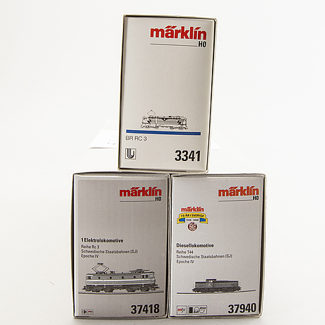 3 märklin locomotives, 3341, 37418 and 37940.