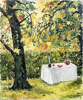 """Ann-Marie Jönsson, oil on canvas, signed, dated -94, """"My garden""""."""