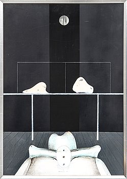 Uno Svensson, acrylic on panel signed and dated 69.
