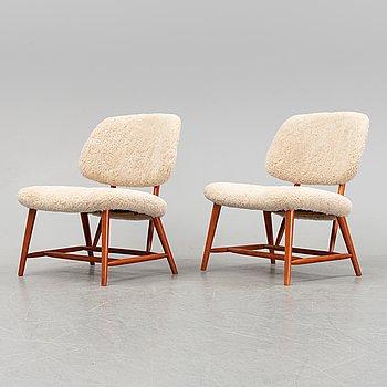 """Alf Svensson, fåtöljer ett par, """"TeVe"""", Bra Bohag, Studio Ljungs Industrier 1950-tal."""