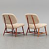 A 1950's pair of 'teve' easy chairs by alf svensson.