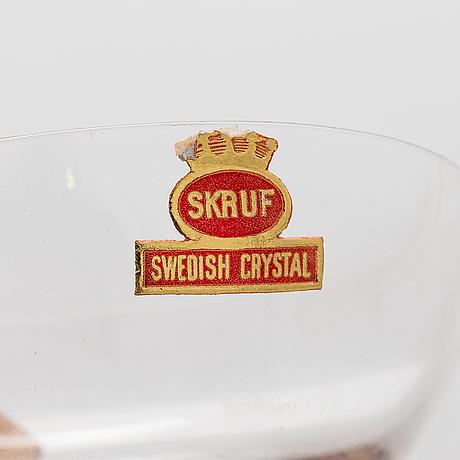 Champagne/cocktail glas, 6 st, skruf, swedish crystal.