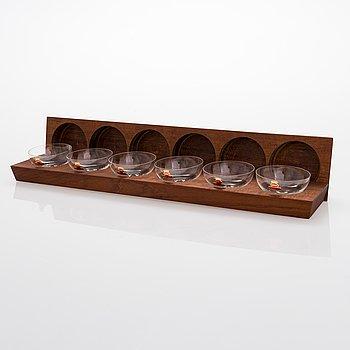 A set of six champagne/cocktail glasses, Skruf, Swedish Crystal.
