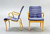 Bruno mathsson, armchairs, a pair of model 'mina'.