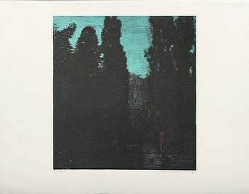 Ola Billgren, color lithograph, signed -83 trail print.
