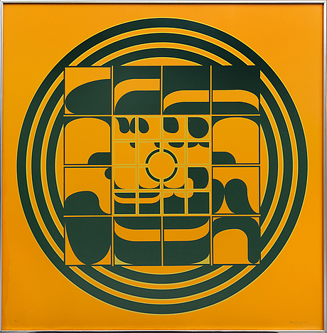 Beck & jung, screenprint signed dated and numbered 1974 12 /20.