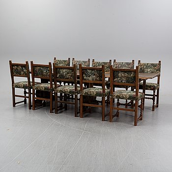A eleven piece dining suite, mid 20th century.
