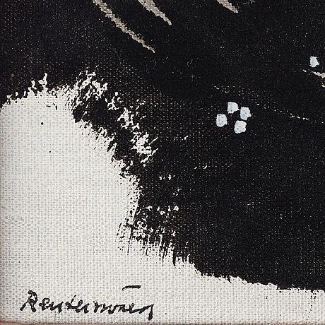 Carl fredrik reuterswärd, mixed media on canvas, signed.