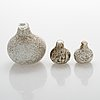 A set of three glassbirds by oiva toikka, signed.