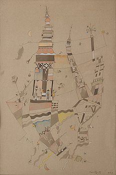 Eric Grate, watercolor on paper, signed and dated 1923.