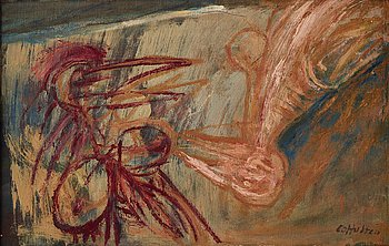 CO Hultén, oil on relined canvas, signed, executed around 1950.