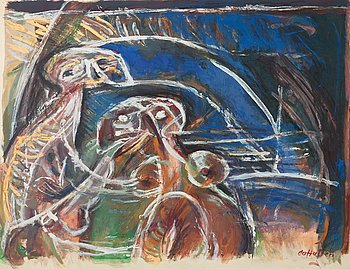 CO Hultén, mixed media on paper, signed, executed 1952.