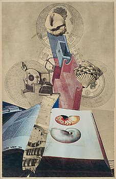 Endre Nemes, collage, signed and dated 1966.