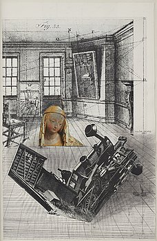 Endre Nemes, mixed media with collage, signed and dated 1981.