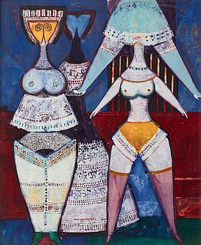 Max Walter Svanberg, gouache on paper, signed and dated -56.