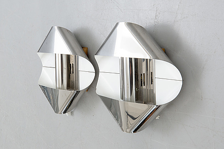 Wall lamps a pair of guzzini italy 1970s.