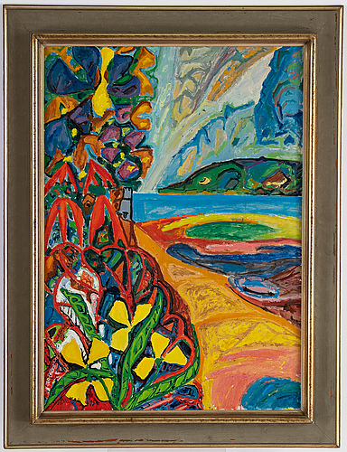 Uno vallman, oil on canvas, signed and dated 1950.