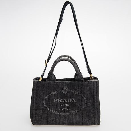 Prada,  'black denim gardener's tote' bag.
