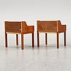 A pair of teak bed side tables, 1960's.
