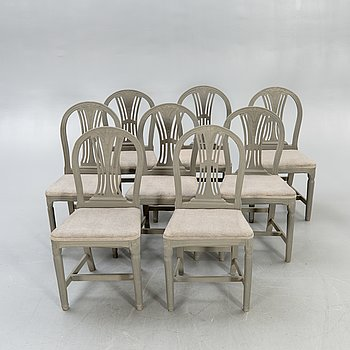 A set of eight late Gustavian painted chairs first half of the 20th century.