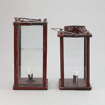 Two painted 19th Century lanterns.