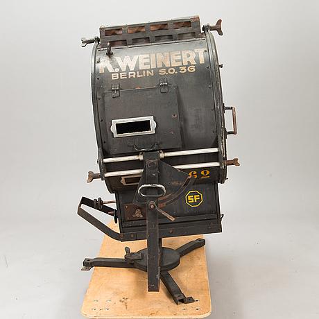 A film industry carbon arc spotlight, manufacturer k. weinert, berlin.