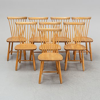 A set of eight 'Lilla Åland' birch chairs by Carl Malmsten for Stolab dated 1996.