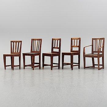 Stolar, samt karmstol 4+1, allmoge, 1800-tal.