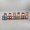 Six swedish painted chairs, 19th century.