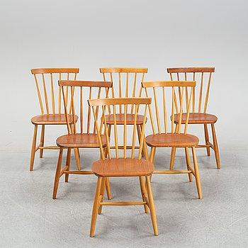 Six 1950/60's birch and teak chairs from Nesto.