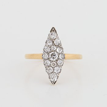 Old-cut diamond navette ring.