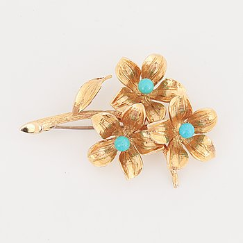 18K gold and turquoise coloured stone brooch.