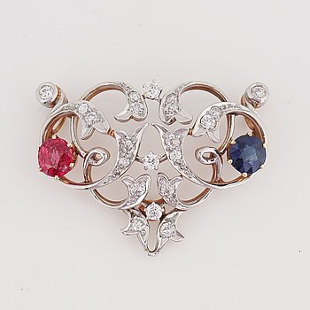 Old-cut diamond, sapphire, spinel pendant.