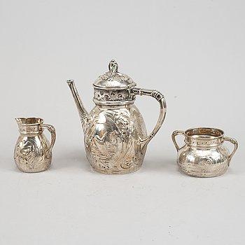 Emil Oscar Möller, kaffeservis, 3 delar, silver. Malmö 1907.