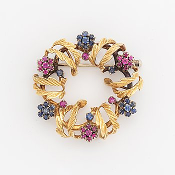 Sapphire and ruby brooch.