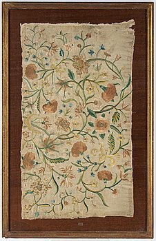 A silk embroidery, 18th century, probably Europe, ca 96 x 57,5 cm.
