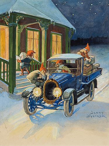 Jenny nyström, watercolour, signed jenny nyström.