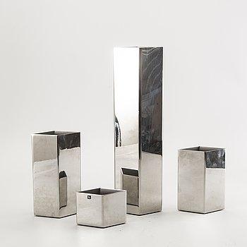Sigurd Persson, a set of four metal signed vases.