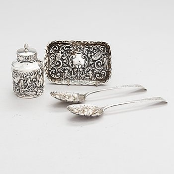 A set of English sterling silver, 1787-1906, a pair of spoons, a jar and a dish.