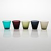 "Kaj franck, five drinking glasses ""kartio"" model 2744, in toive box, nuutajärvi mid 20th century."
