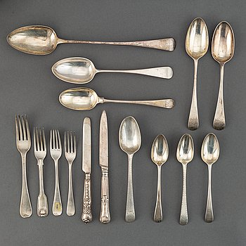 Silver cutlery, England and Scotland, 18th-19th century (45 pieces).