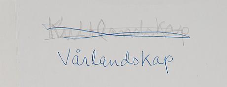 Ingvar olson, blandteknik/collage på pannå, signerad och daterad 1997.