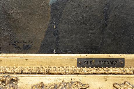 August jernberg, oil on panel put on panel, signed.