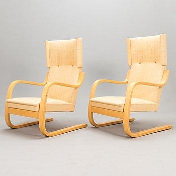 Alvar Aalto, A pair of '401' armchairs, Artek, 2000s.