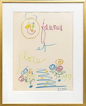 Pablo Picasso, after, litographie/Pochoir, published by Jacomet, Au pont des Arts, Paris 1960. Number 8/175.