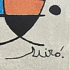 Joan miró, after, a numbered colour lithograph.