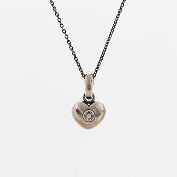 Ole Lynggaard, heart charm, sterling silver with small brilliant-cut diamond.