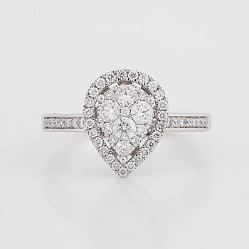 Drop shaped brilliant-cut diamond ring.